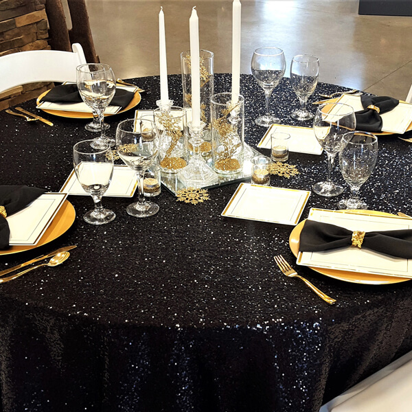 Black Sequin Glitz Tablecloth | Celebrations by Rent-All located in Sioux Center | Wedding Rental | Tablecloths For Rent