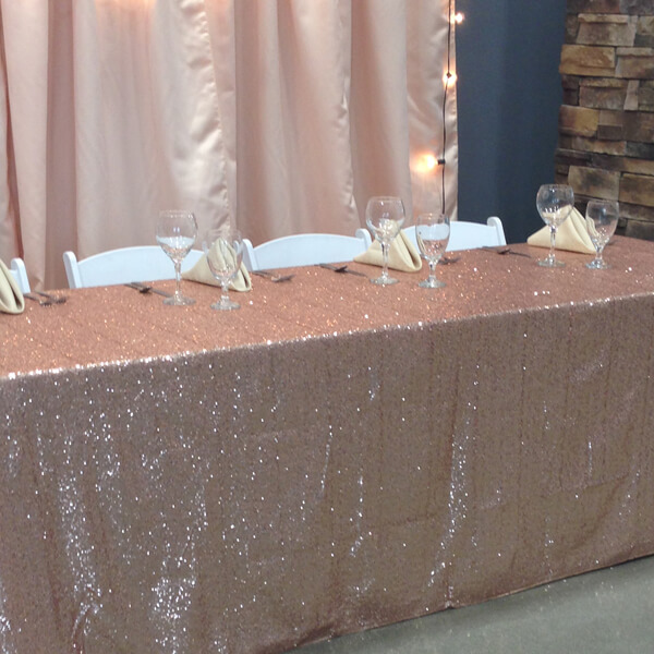 Blush Sequin Glitz Tablecloth   Celebrations by Rent-All located in Sioux Center   Wedding Rental   Tablecloths For Rent