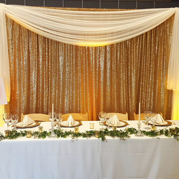 Gold Glitz Backdrop | Celebrations by Rent-All located in Sioux Center | Wedding Rental | Backdrops For Rent