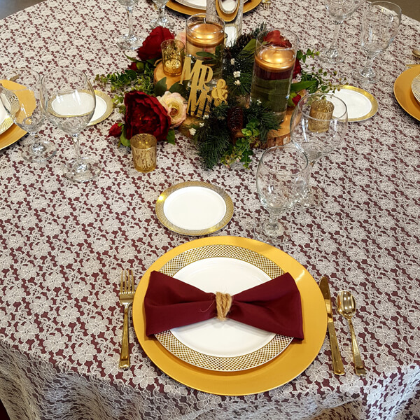 Ivory Lace Tablecloth | Celebrations by Rent-All located in Sioux Center | Wedding Rental | Tablecloths For Rent