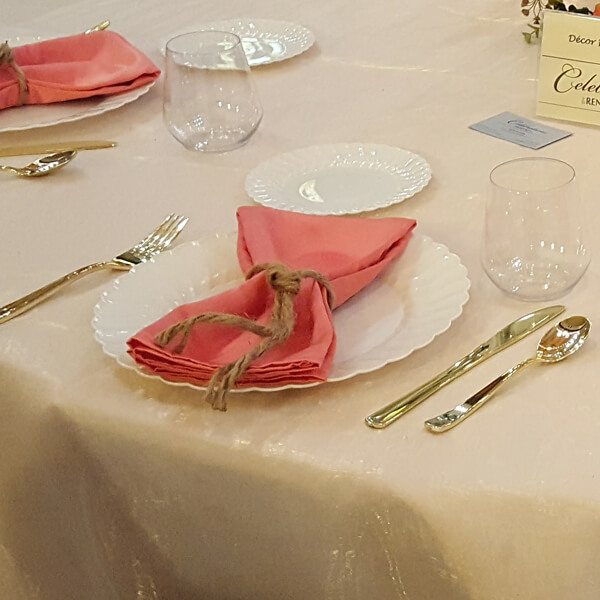 Coral Satin Napkin | Celebrations by Rent-All located in Sioux Center | Wedding Rental | Napkins For Rent