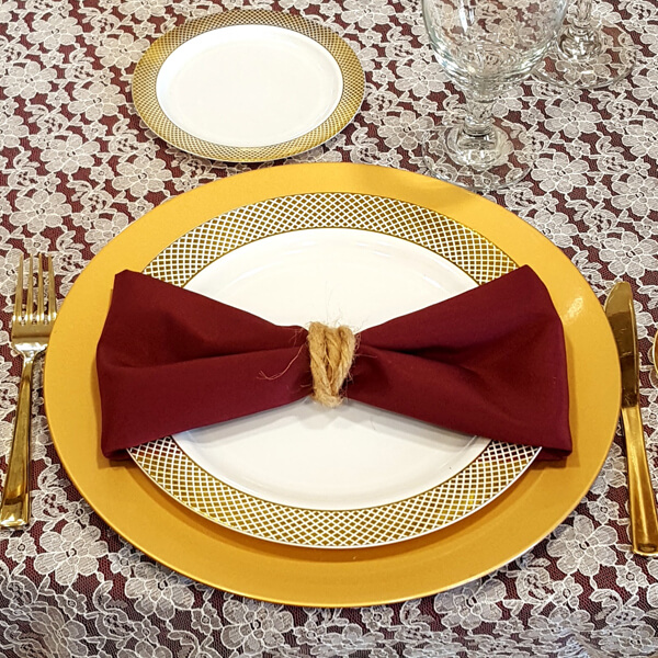 Burgundy Maroon Napkin | Celebrations by Rent-All located in Sioux Center | Wedding Rental | Cloth Napkins For Rent
