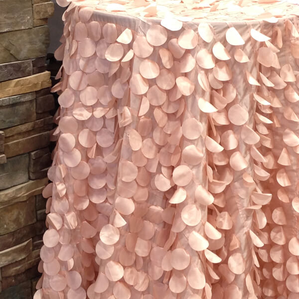 Blush Petal Circle Tablecloth   Celebrations by Rent-All located in Sioux Center   Wedding Rental   Tablecloths For Rent