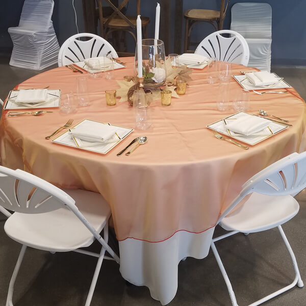 Copper Radiance Tablecloth | Celebrations by Rent-All located in Sioux Center | Wedding Rental | Tablecloths For Rent