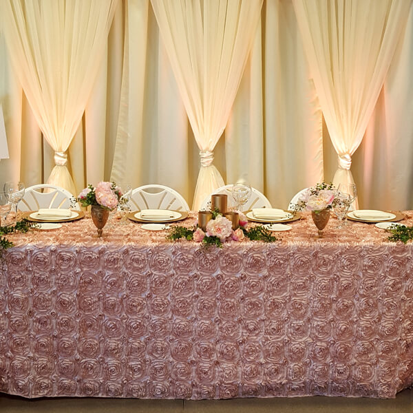 Blush Rosette Tablecloth | Celebrations by Rent-All located in Sioux Center | Wedding Rental | Tablecloths For Rent