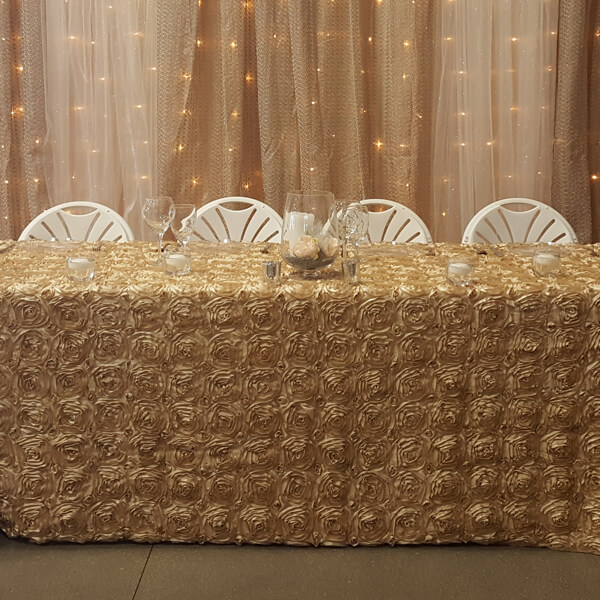 Champagne Rosette Tablecloth | Celebrations by Rent-All located in Sioux Center | Wedding Rental | Tablecloths For Rent