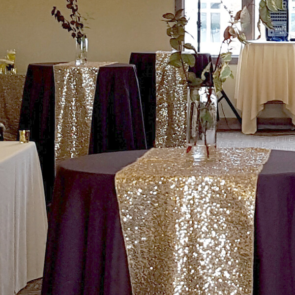 Champagne Glitz Sequin Runner | Celebrations by Rent-All located in Sioux Center | Wedding Rental | Table Runners For Rent