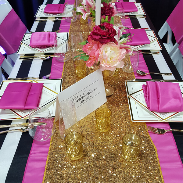 Gold Glitz Sequin Runner | Celebrations by Rent-All located in Sioux Center | Wedding Rental | Table Runners For Rent