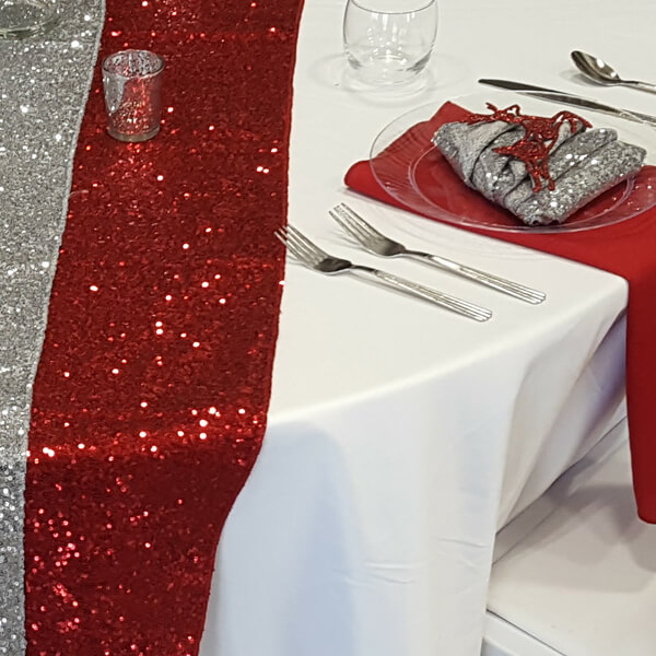 Red Glitz Sequin Runner | Celebrations by Rent-All located in Sioux Center | Wedding Rental | Table Runners For Rent
