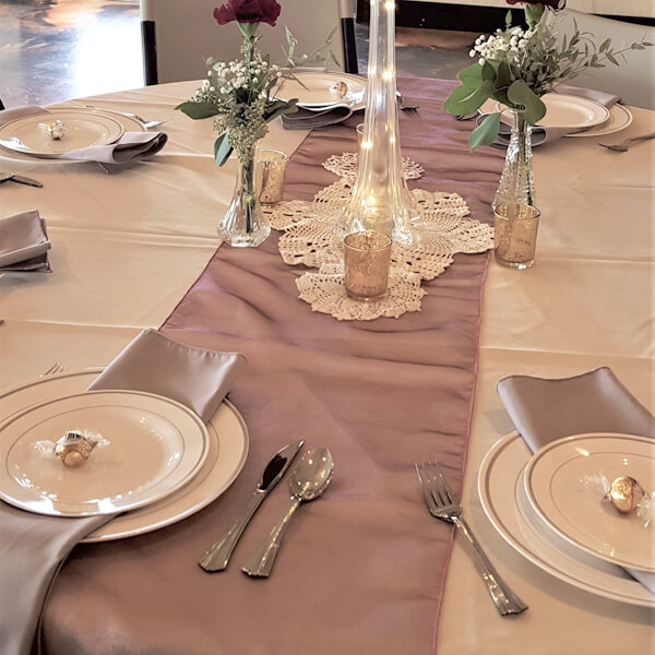 Pink Topaz Radiance Runner | Celebrations by Rent-All located in Sioux Center | Wedding Rental | Table Runners For Rent