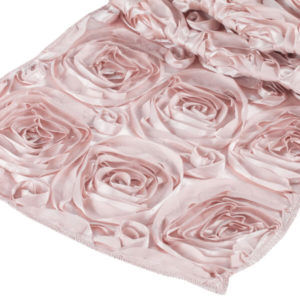 Blush Rosette Runner | Celebrations by Rent-All located in Sioux Center | Wedding Rental | Table Runners For Rent