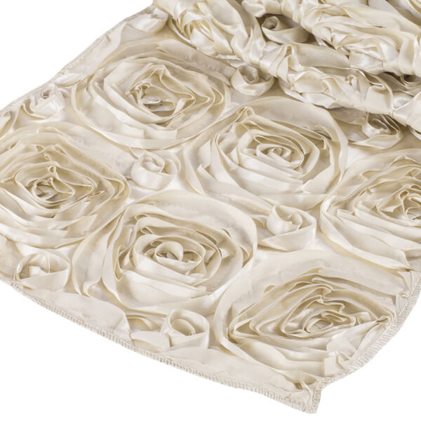 Champagne Rosette Runner | Celebrations by Rent-All located in Sioux Center | Wedding Rental | Table Runners For Rent
