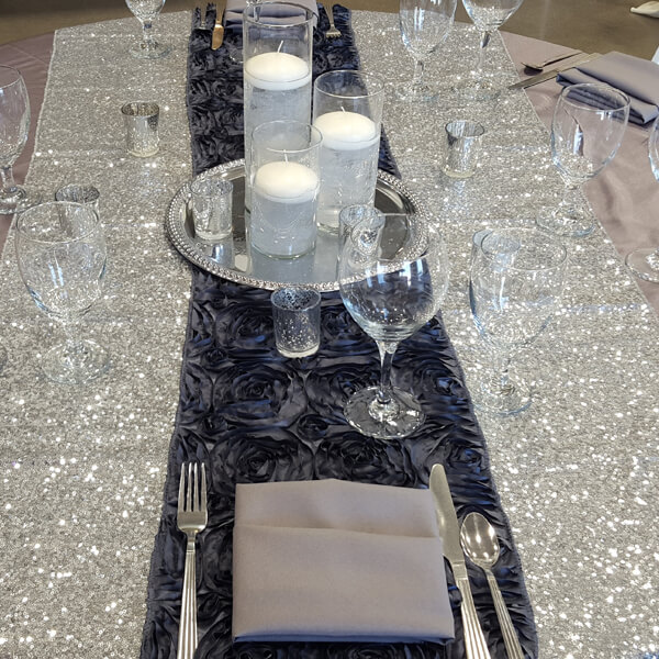 Pewter Rosette Runner | Celebrations by Rent-All located in Sioux Center | Wedding Rental | Table Runners For Rent