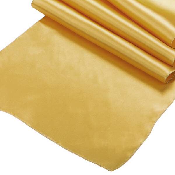 Gold Satin Runner | Celebrations by Rent-All located in Sioux Center | Wedding Rental | Table Runners For Rent