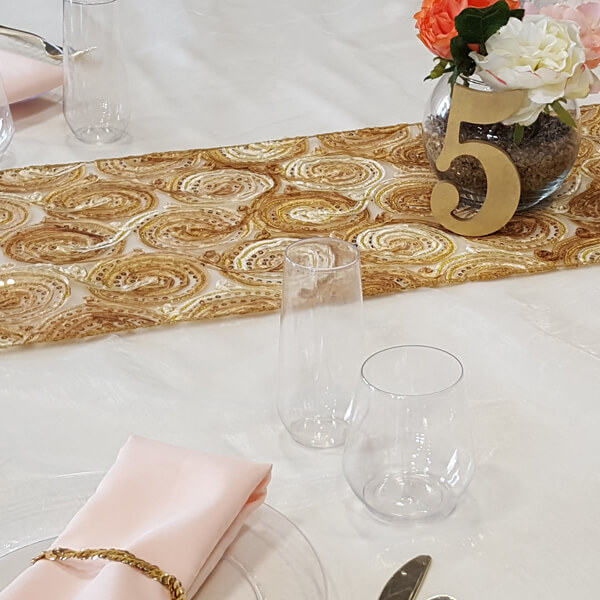 Gold Swirl Runner   Celebrations by Rent-All located in Sioux Center   Wedding Rental   Table Runners For Rent