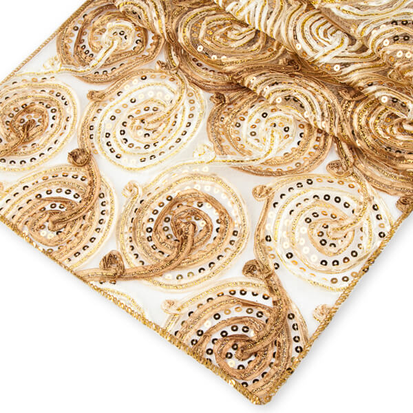 Gold Swirl Runner | Celebrations by Rent-All located in Sioux Center | Wedding Rental | Table Runners For Rent