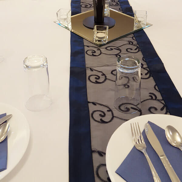 Navy Swirl Runner | Celebrations by Rent-All located in Sioux Center | Wedding Rental | Table Runners For Rent