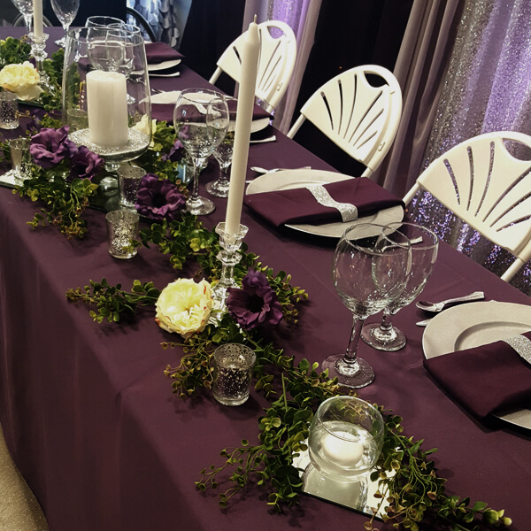 Plum Satin Tablecloth | Celebrations by Rent-All located in Sioux Center | Wedding Rental | Tablecloths For Rent
