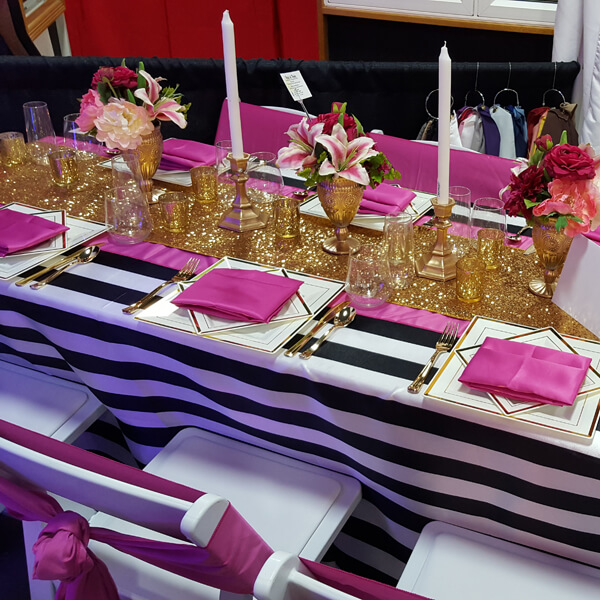 Stripe Satin Tablecloth | Celebrations by Rent-All located in Sioux Center | Wedding Rental | Tablecloths For Rent