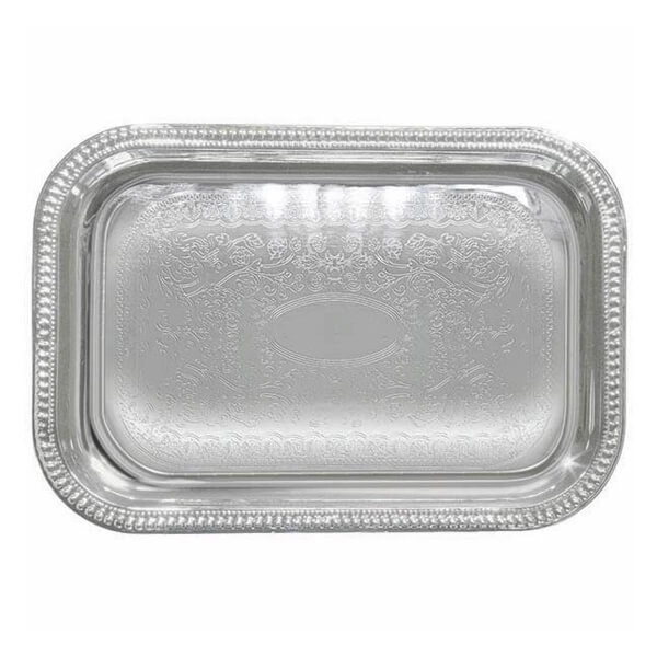 Oblong Silver Serving Tray | Celebrations by Rent-All located in Sioux Center | For Rent | Serving Rentals