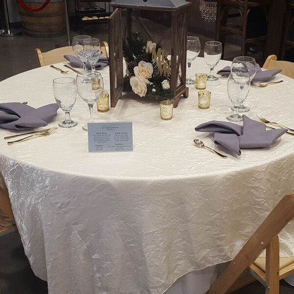 Ivory Shalimar Tablecloth | Celebrations by Rent-All located in Sioux Center | Wedding Rental | Tablecloths For Rent