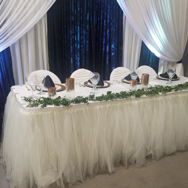 Ivory Tulle Tutu Table Skirt | Celebrations by Rent-All located in Sioux Center | Wedding Rental | Table Skirting For Rent