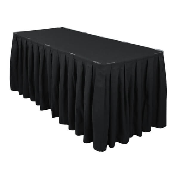 Black Table Skirt | Celebrations by Rent-All located in Sioux Center | Wedding Rental | Table Skirting For Rent