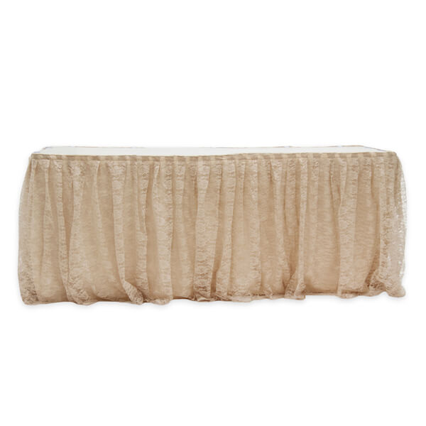 Lace Table Skirt | Celebrations by Rent-All located in Sioux Center | Wedding Rental | Table Skirting For Rent