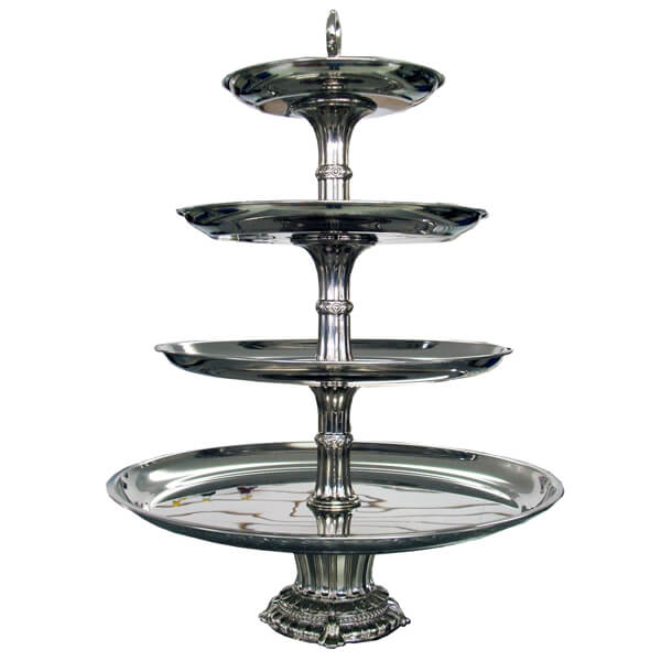 Silver 4 Tier Stand   Celebrations by Rent-All located in Sioux Center   For Rent   Serving Rentals
