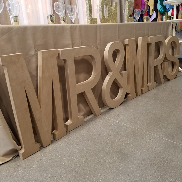 Mr & Mrs Letters - Craft Paper   Celebrations by Rent-All located in Sioux Center   Wedding Decor For Rent