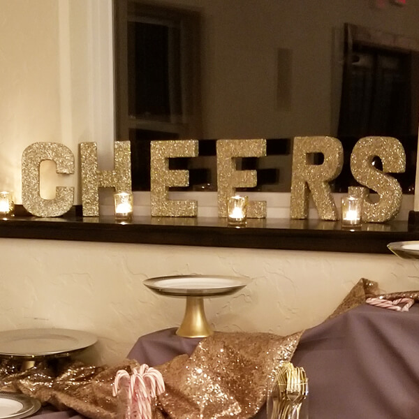CHEERS Letters - Gold   Celebrations by Rent-All located in Sioux Center   Wedding Sign Decor For Rent