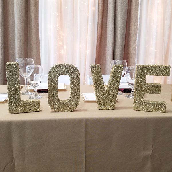 LOVE Letters - Gold | Celebrations by Rent-All located in Sioux Center | Wedding Sign Decor For Rent