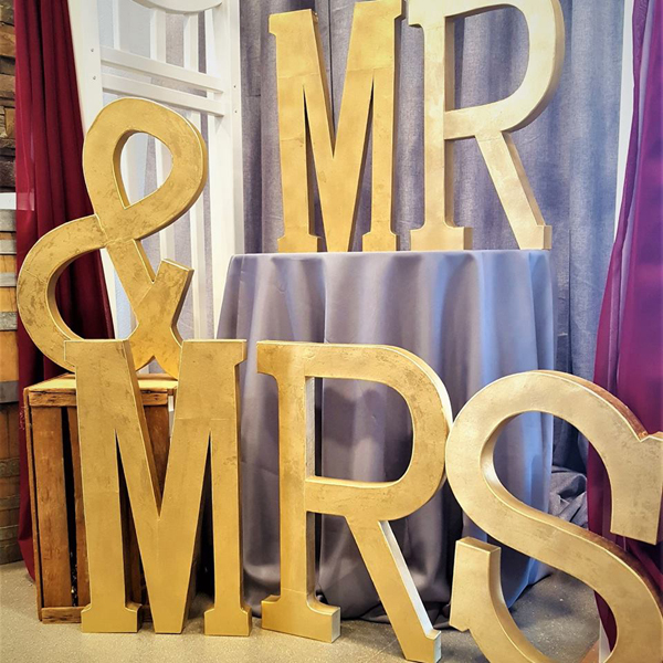Mr & Mrs Letters - Gold | Celebrations by Rent-All located in Sioux Center | Wedding Decor For Rent