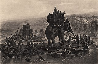 Hannibal Barca Crossing The Rhone On Elephants