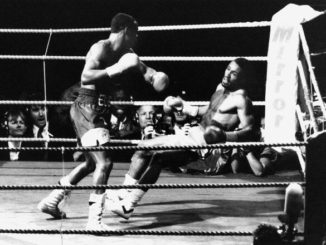 Michael Watson falls after Chris Eubank delivers the final punch in their WBO super-middleweight fight at White Hart Lane, 21st September 1991. The fight ended Watson's career but lead to safety procedure changes. (Photo by Chris Smith/Popperfoto/Getty Images)