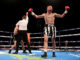 Lewis Ritson celebrates victory over Scott Cardle (left) after the referee counts him out in the British Lightweight Championship contest at the O2 Arena, London.