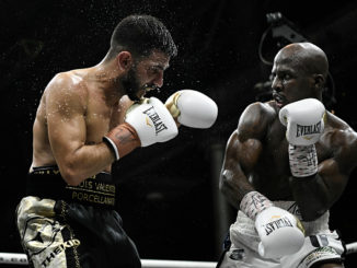 3rd August 2018, Technology Park, Sydney, Australia; IBF World Super Featherweight Title Fight, Tevin Farmer versus Billy Dib; Tevin Farmer follows through after landing an overhand right punch on Billy Dib. Image credit: photo by Nigel Owen/Action Plus via Getty Images