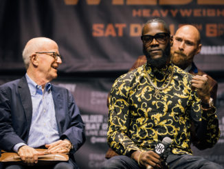 Wilder vs Fury at LA Press Conference promoting their December 1 2018 fight at the Staples Center. Image Credit: Amanda Westcott/Showtime