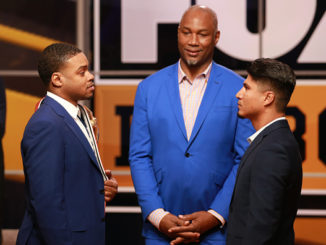 LOS ANGELES, CALIFORNIA - NOVEMBER 13: (L-R) Errol Spence Jr., lennox Lewis and Mikey Garcia attend FOX Sports and Premier Boxing Champions Press Conference Experience on November 13, 2018 in Los Angeles, California. (Photo by Leon Bennett/Getty Images)