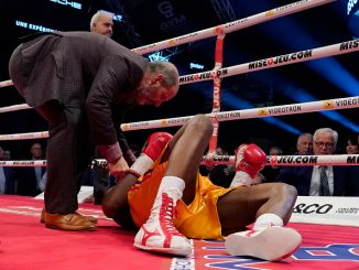 QUEBEC CITY, QC - DECEMBER 1: Adonis Stevenson (gold trunk) is being checked out by Marc Gagne after being knocked out by Oleksandr Gvosdyk during their WBC light heavyweight championship fight at the Videotron Center on December 1, 2018 in Quebec City, Quebec, Canada. (Photo by Mathieu Belanger/Getty Images)