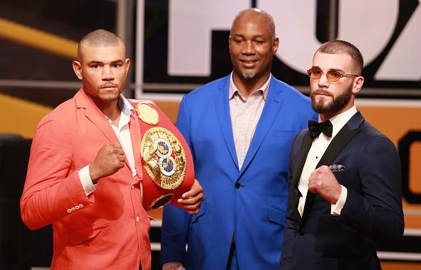 LOS ANGELES, CALIFORNIA - NOVEMBER 13: (L-R) Jose Uzcategui, Lennox Lewis and Caleb Plant attend FOX Sports and Premier Boxing Champions Press Conference Experience on November 13, 2018 in Los Angeles, California. (Photo by Leon Bennett/Getty Images)
