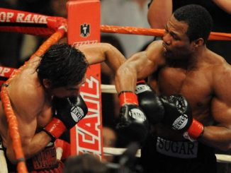 "American ""Sugar"" Shane Mosley (R) lands the final punch on Antonio Margarito of Mexico before the fight was stopped and declared a technical knockout win for Mosley in the World Boxing Association welterweight title at the Staples Center in Los Angeles on January 24, 2009. Mosley, at 37 some seven years older than Margarito claimed the Mexican's World Boxing Association welterweight world title after winning the bout in the ninth round.. AFP PHOTO/Mark RALSTON (Photo credit should read MARK RALSTON/AFP/Getty Images)"
