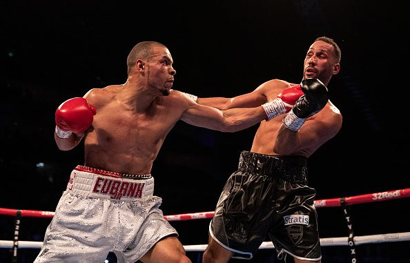 LONDON, ENGLAND - FEBRUARY 23: James Degale (black shorts) and Chris Eubank Jr (white shorts) trade punches during the IBO World Super Middleweight Title fight between James DeGale and Chris Eubank Jr at The O2 Arena on February 23, 2019 in London, England. (Photo by Richard Heathcote/Getty Images)