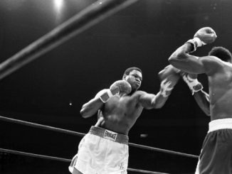 NEW YORK,NY - JUNE 22,1979: Larry Homes (L) lands a right punch to Mike Weaver during the fight at Madison Square Garden on June 22, 1979 in New York, New York. Larry Holmes won the WBC heavyweight title by a TKO 12. (Photo by: The Ring Magazine/Getty Images)