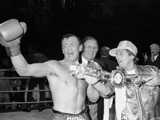 Tony Sibson celebrates with the British Middleweight title belt after stopping Brian Anderson in the 7th round. (Photo by S&G/PA Images via Getty Images)