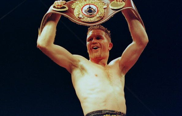 9 SEP 1995: STEVE COLLINS OF IRELAND CELEBRATES WITH THE BELT AFTER DEFEATING CHRIS EUBANK OF GREAT BRITAIN IN THEIR WBO WORLD SUPER-MIDDLEWEIGHT TITLE FIGHT HELD IN CORK. Mandatory Credit: Holly Stein/ALLSPORT