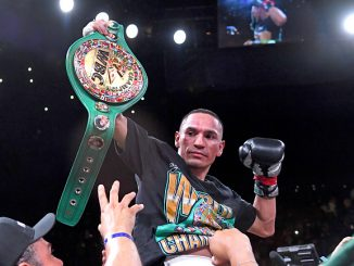 INGLEWOOD, CA - APRIL 26: Juan Francisco Estrada II holds his championship belt after defeating Srisaket Sor Rungvisai (not pictured) in their WBC Council World Super Flyweight fight at The Forum on April 26, 2019 in Inglewood, California. Estrada II won by unanimous decision. (Photo by Jayne Kamin-Oncea/Getty Images)