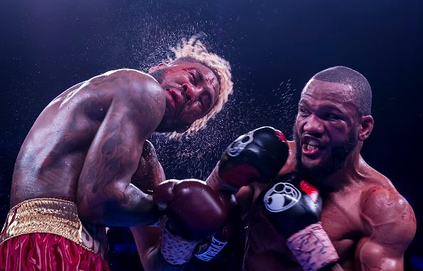 FAIRFAX, VA - MAY 10: Julian Williams punches Jarrett Hurd during the eleventh round of their IBF, WBA, and IBO world super welterweight championship bout at EagleBank Arena on May 11, 2019 in Fairfax, Virginia. (Photo by Scott Taetsch/Getty Images)