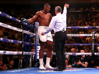Referee Mike Griffin waves off the fight between Anthony Joshua (left) and Andy Ruiz Jr (not shown) at Madison Square Garden, New York. (Photo by Nick Potts/PA Images via Getty Images)