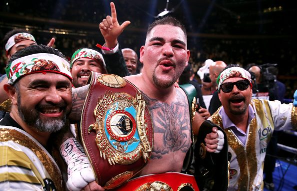 Andy Ruiz Jr (centre) celebrates the win in the WBA, IBF, WBO and IBO Heavyweight World Championships title fight at Anthony Joshua at Madison Square Garden, New York. (Photo by Nick Potts/PA Images via Getty Images)